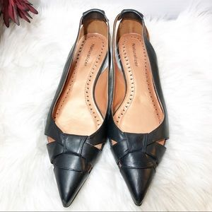 Naturalizer Black Leather Pointed-Toe Flat Shoes